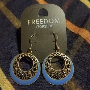 Topshop Womens Blue Dangle Earrings